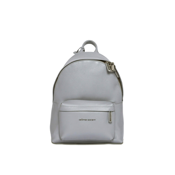 Skye Backpack Small - Light Grey Saffiano Leather - Handcrafted in Italy