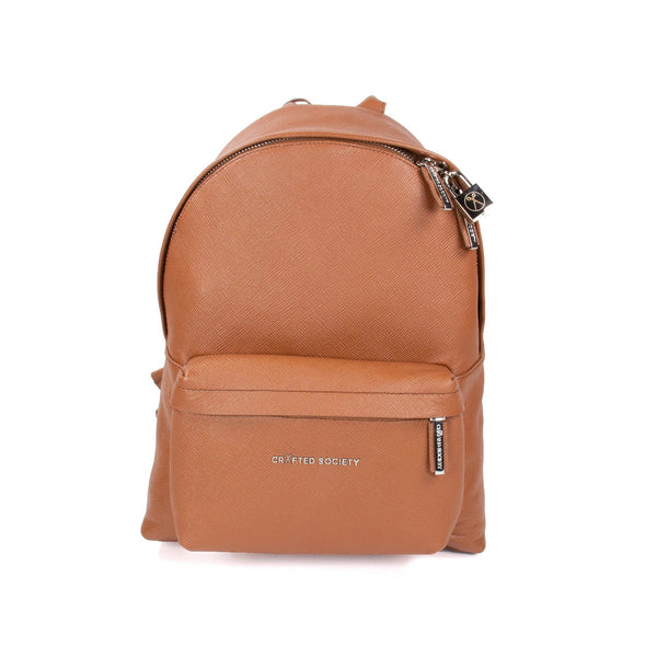 Skye Backpack Small - Camel Saffiano Leather - Handcrafted in Italy