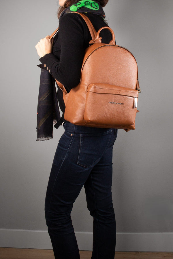 Skye Backpack Small - Camel Saffiano Leather