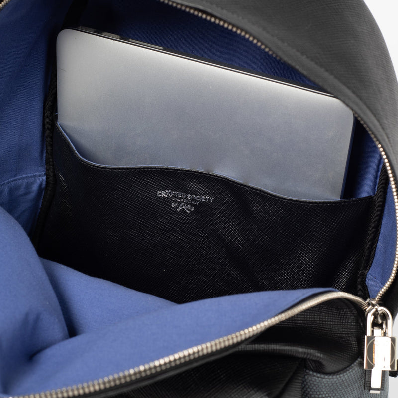 Astin Backpack Black Saffiano Leather Detail Laptop