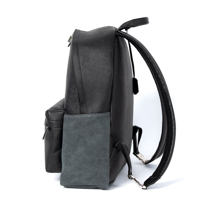 Astin Backpack Black Saffiano Leather Sideview