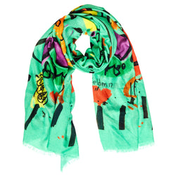 Bruna Scarf - Selden Art - Cashmere - Pistachio Green - Handcrafted in Italy