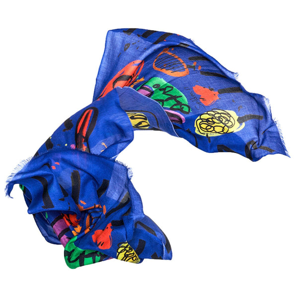 Bruna Scarf Roger Selden Art Cashmere Royal Blue Sideview