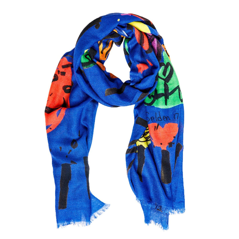 Bruna Scarf Roger Selden Art Cashmere Royal Blue Frontview