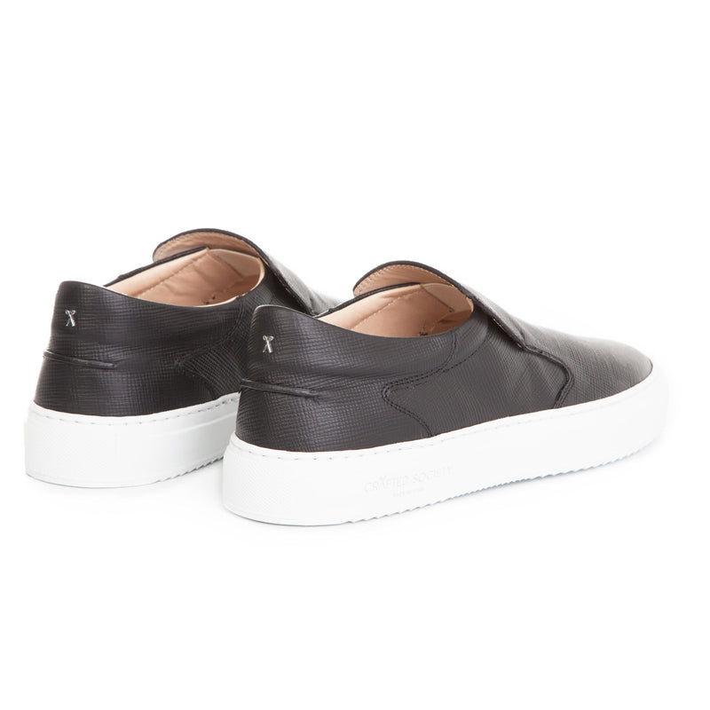 Como Slip-on Italian Sneaker Black Saffiano Leather White Outsole