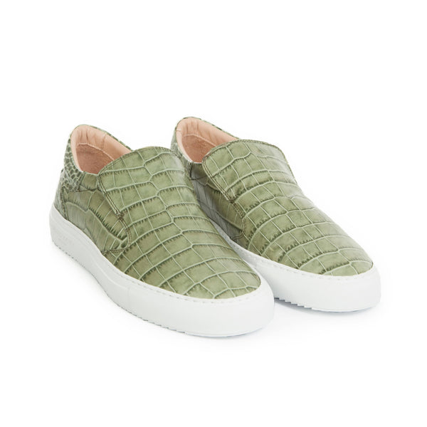 Como Slip-on Sneaker - Army Green Full Grain Leather Croc-effect / White Outsole