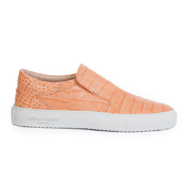 Como Slip-on Italian Sneaker Coral Full Grain Leather Croc-effect White Outsole