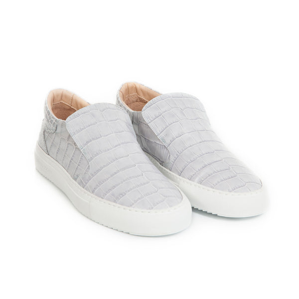 Como Slip-on Sneaker - Grey Full Grain Leather Croc-effect / White Outsole