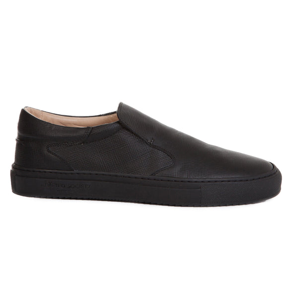 Como Slip-on Italian Sneaker Black Saffiano Leather Black Outsole