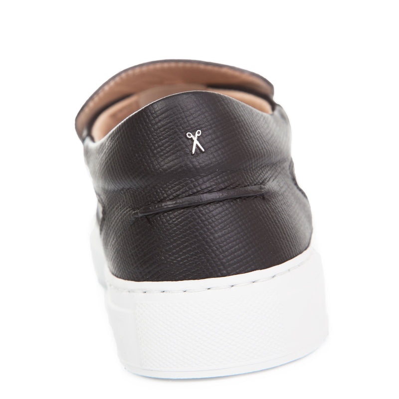 Como Slip-on Sneaker - Black Saffiano Leather / White Outsole
