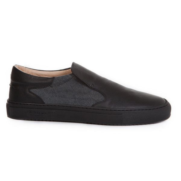 Como Slip-on Italian Sneaker Black Canvas & Saffiano Leather Black Outsole
