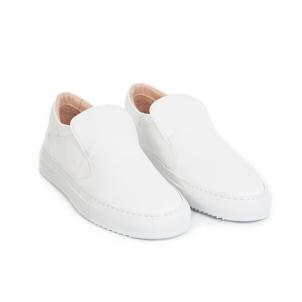 Como Slip-on Sneaker - White Saffiano Leather / White Outsole