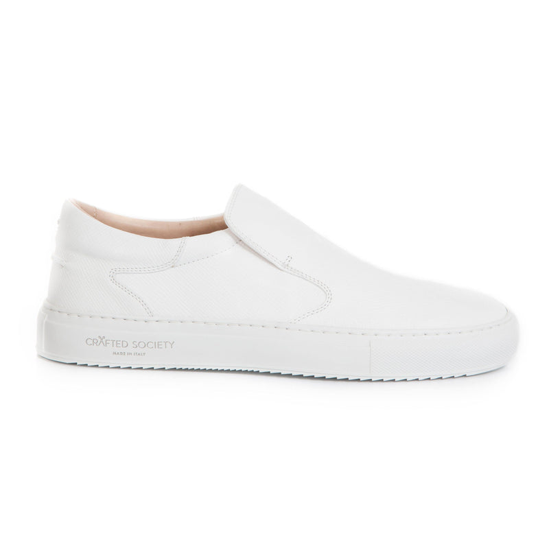 Como Slip-on - White Saffiano Leather / White Outsole
