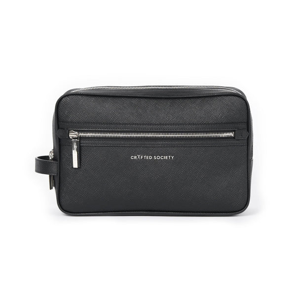 Edy Washbag - Black Saffiano Leather - Handcrafted in Italy