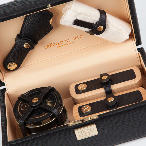 Bespoke Shoe Care Kit - Black Saffiano Leather