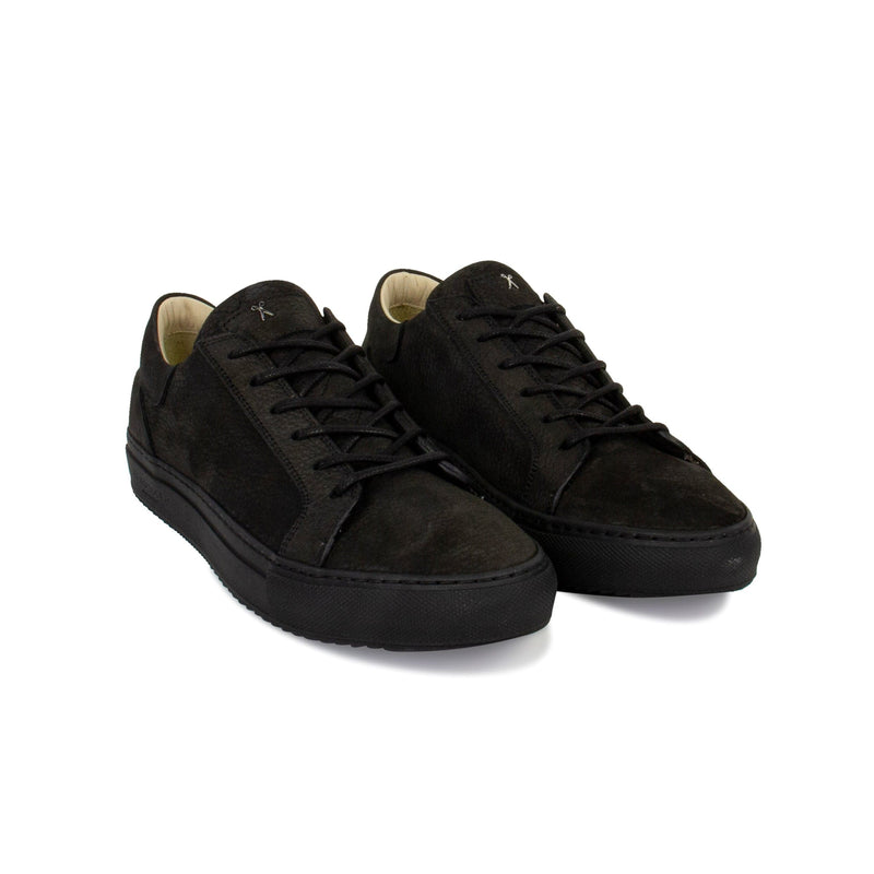 Mario Low Refined Sneaker - Black Nubuck / Black Outsole - Handcrafted in Italy