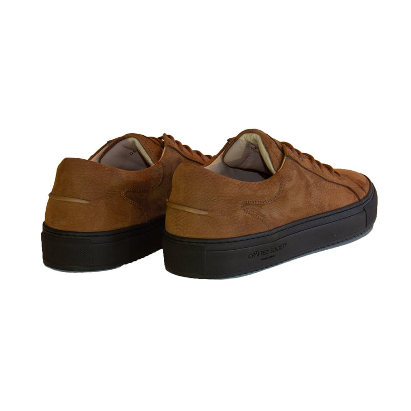Mario Low Refined Sneaker Cognac Nubuck Chocolate Outsole Backview