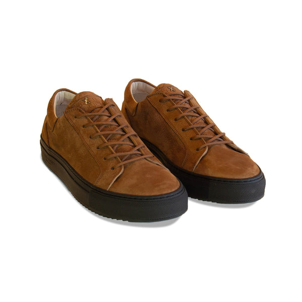 Mario Low Refined Sneaker Cognac Nubuck Chocolate Outsole Frontview