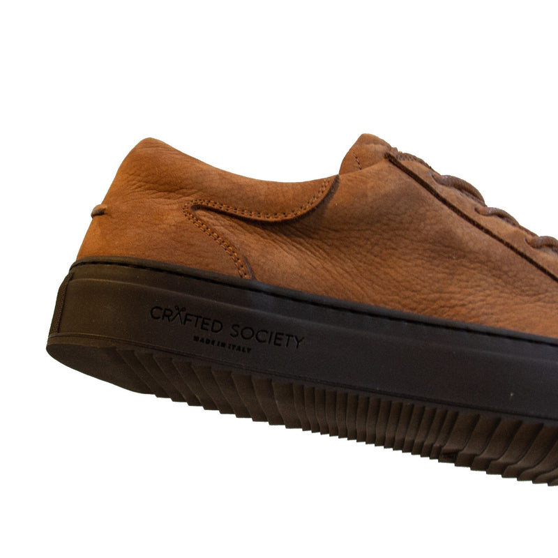 Mario Low Refined Sneaker Cognac Nubuck Chocolate Outsole Sideview Logodetail