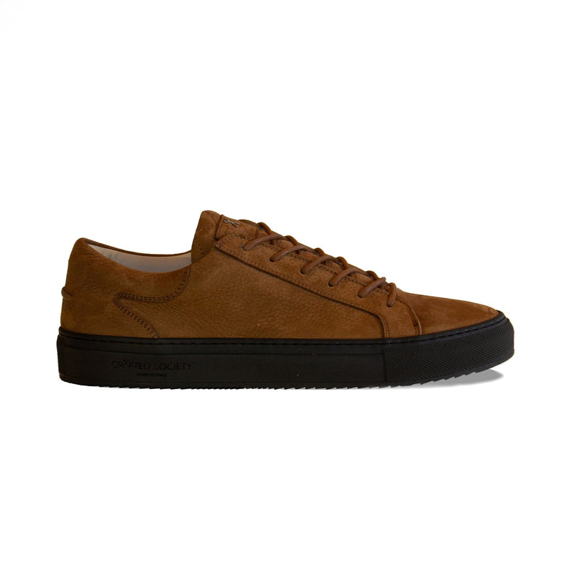Mario Low Refined Sneaker Cognac Nubuck Chocolate Outsole Sideview