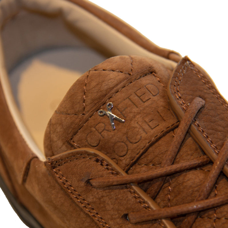 Mario Low Refined Sneaker Cognac Nubuck Chocolate Outsole Logodetail