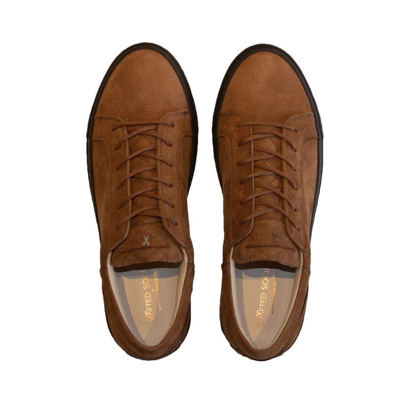 Mario Low Refined Sneaker Cognac Nubuck Chocolate Outsole Aboveview
