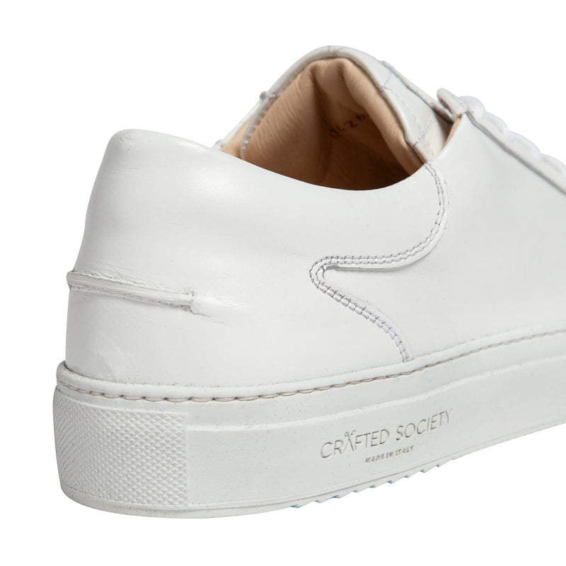 Mario Low Refined Sneaker White Full Grain Leather White Outsole Backview