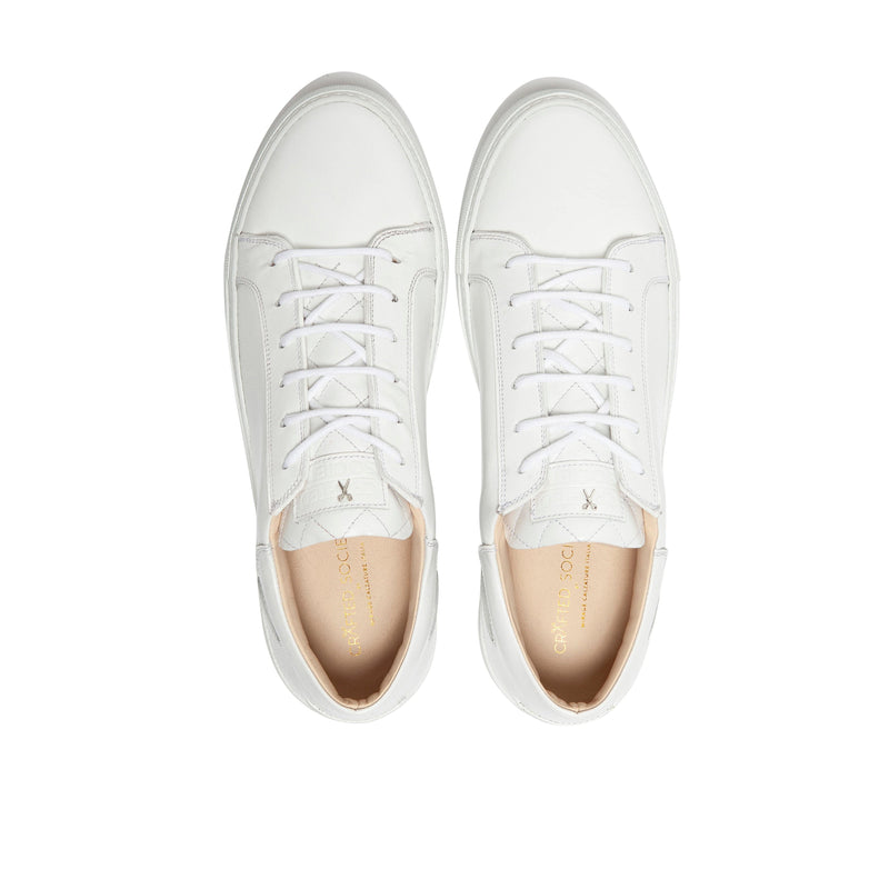 Mario Low Refined Sneaker White Full Grain Leather White Outsole Aboveview