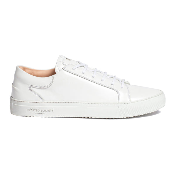 Mario Low Refined Sneaker White Full Grain Leather White Outsole Sideview