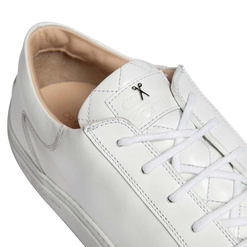 Mario Low Refined Sneaker - White Full Grain Leather / White Outsole
