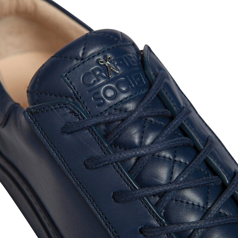 Mario Low Refined Sneaker - Navy Full Grain Leather / Navy Outsole - Handcrafted in Italy