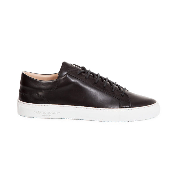 Mario Low Refined Sneaker - Black Full Grain Leather / White Outsole