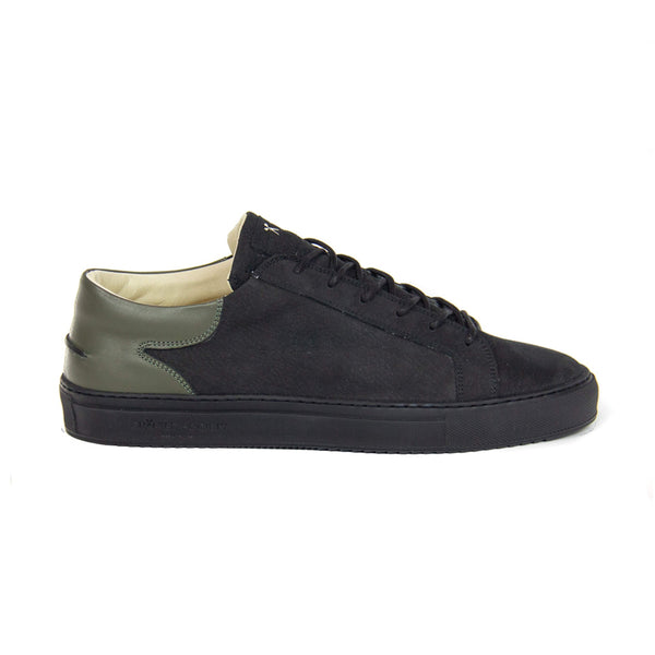 Mario Low Refined Sneaker - Black Nubuck & Military Green Full Grain Leather / Black Outsole