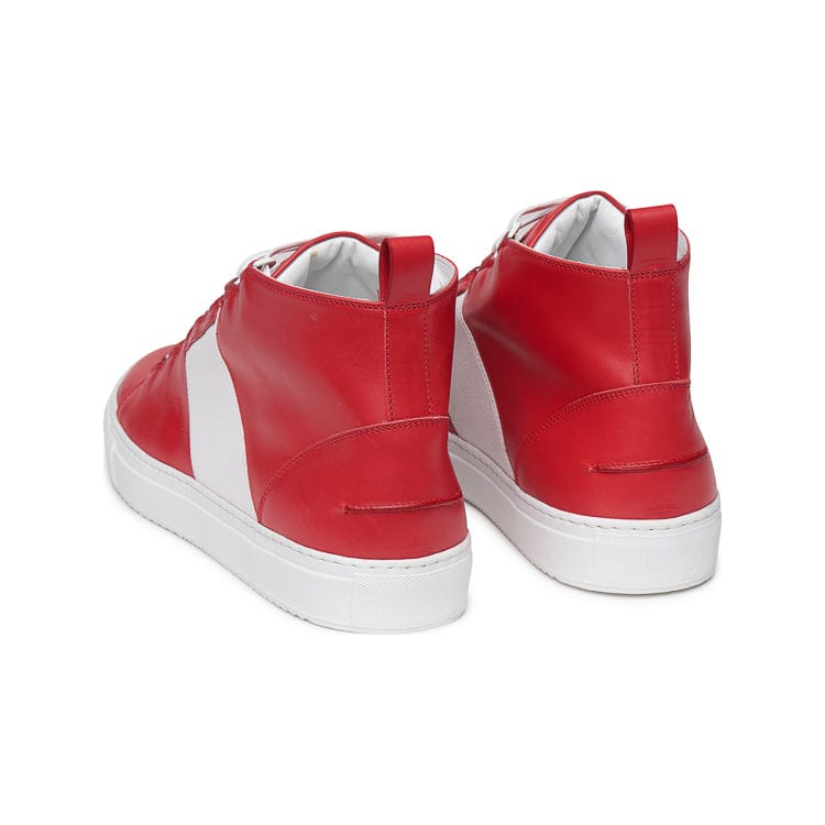 Mario Mid Sporty Sneaker - Red Multi Full Grain Leather / White Outsole - Backview