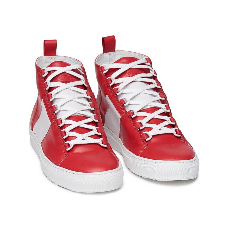 Mario Mid Sporty Sneaker - Red Multi Full Grain Leather / White Outsole - Frontview