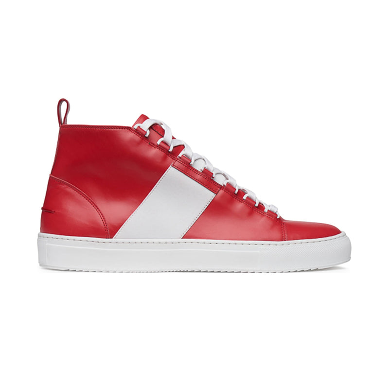Mario Mid Sporty Sneaker - Red Multi Full Grain Leather / White Outsole - Sideview