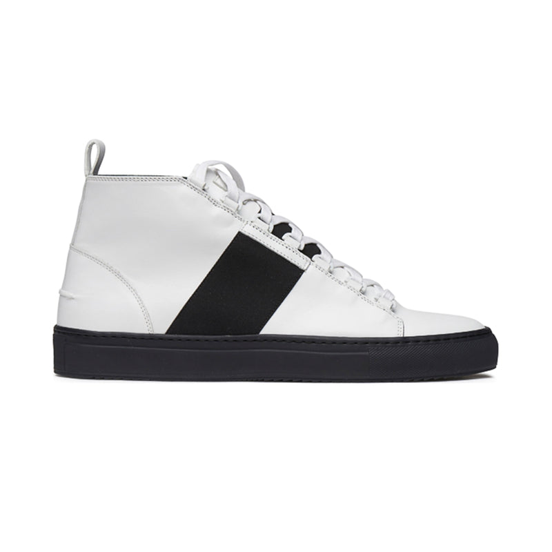 Mario Mid Sporty Sneaker - White Full Grain Leather / Black Outsole