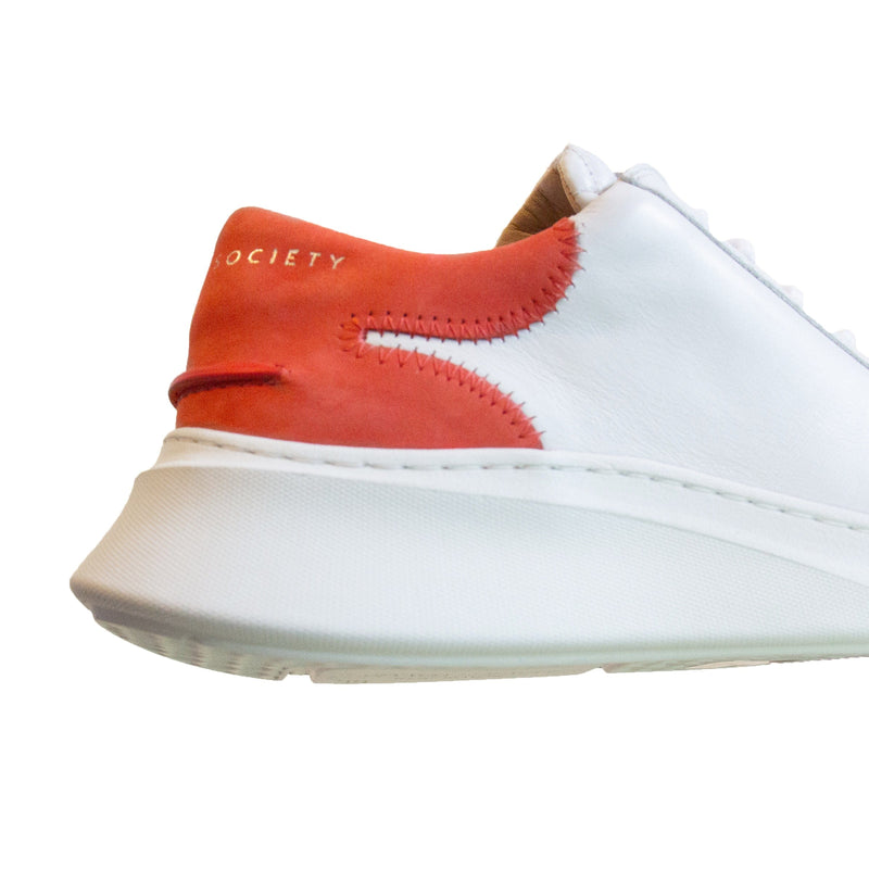 Matteo Low Sneaker - White & Red Full Grain Leather / White Outsole