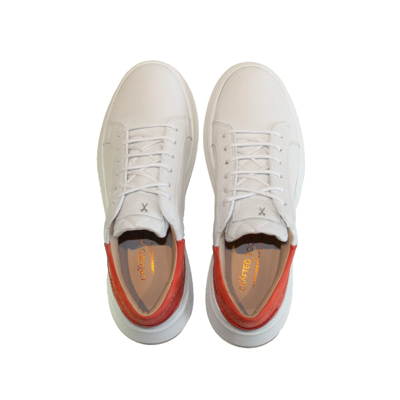 Matteo Low Sneaker - White & Coral Full Grain Leather / White Outsole
