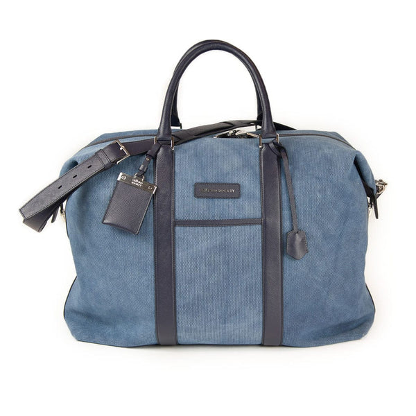 Nando Weekender - Denim Blue Canvas & Navy Saffiano Leather