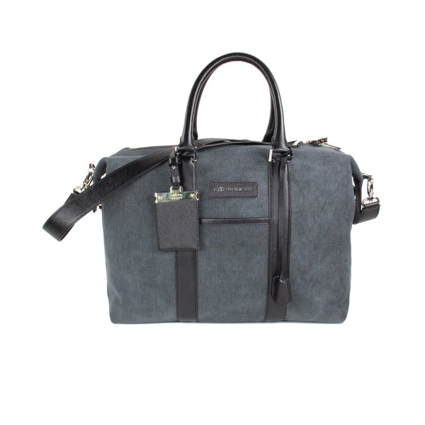Nando Weekender Bag Small - Anthracite Grey Canvas & Black Saffiano Leather - Handcrafted in Italy