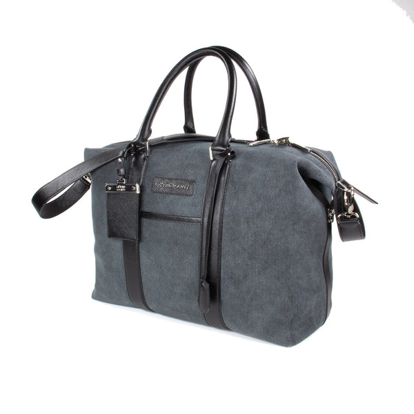 Nando Weekender Small - Anthracite Grey Canvas & Black Saffiano Leather