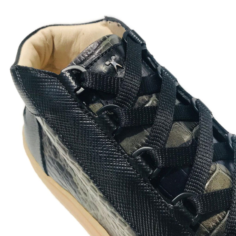 Rico Mid Sneaker - Camo Green Saffiano Leather / Gum Rubber Outsole