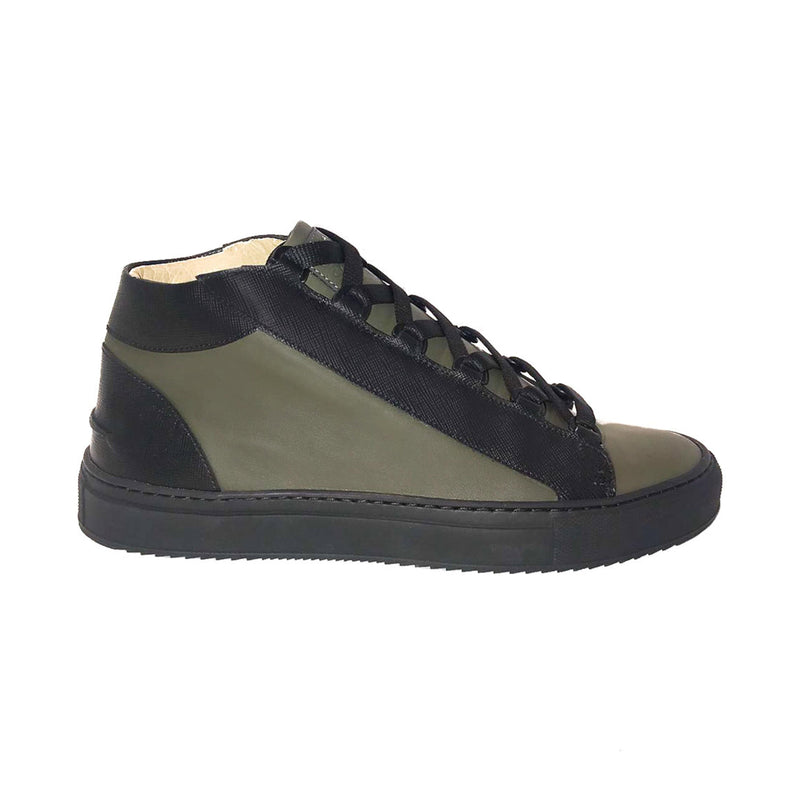 Rico Mid Sneaker Military Green Black Saffiano Leather Black Outsole Sideview