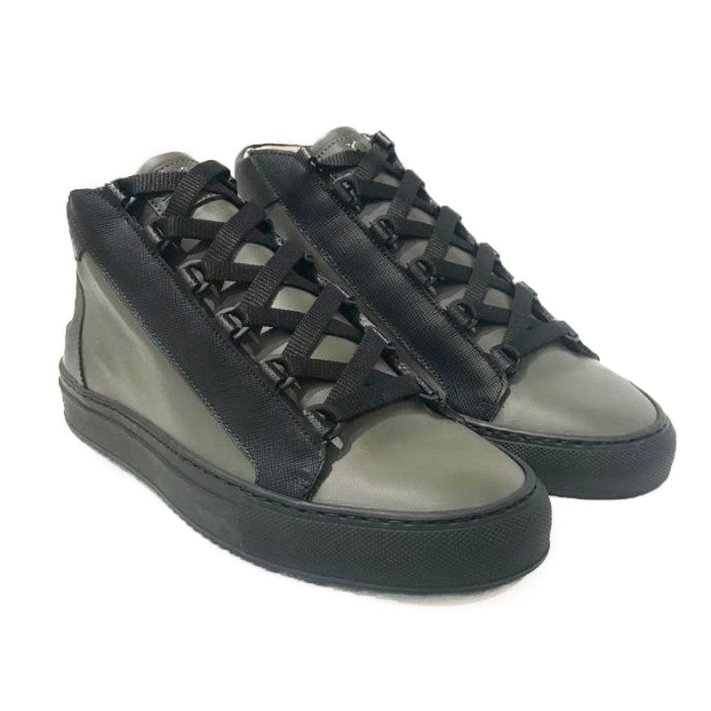 Rico Mid Sneaker Military Green Black Saffiano Leather Black Outsole Frontview