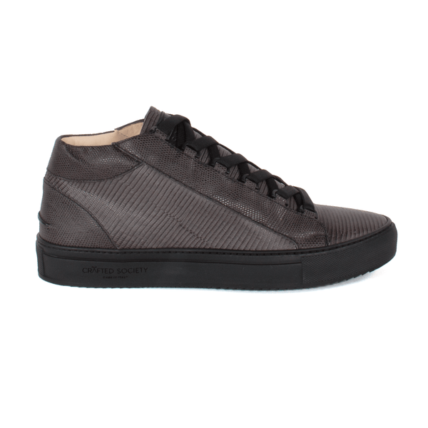 Rico Mid Grey Black Leather Italian Sneaker Sideview