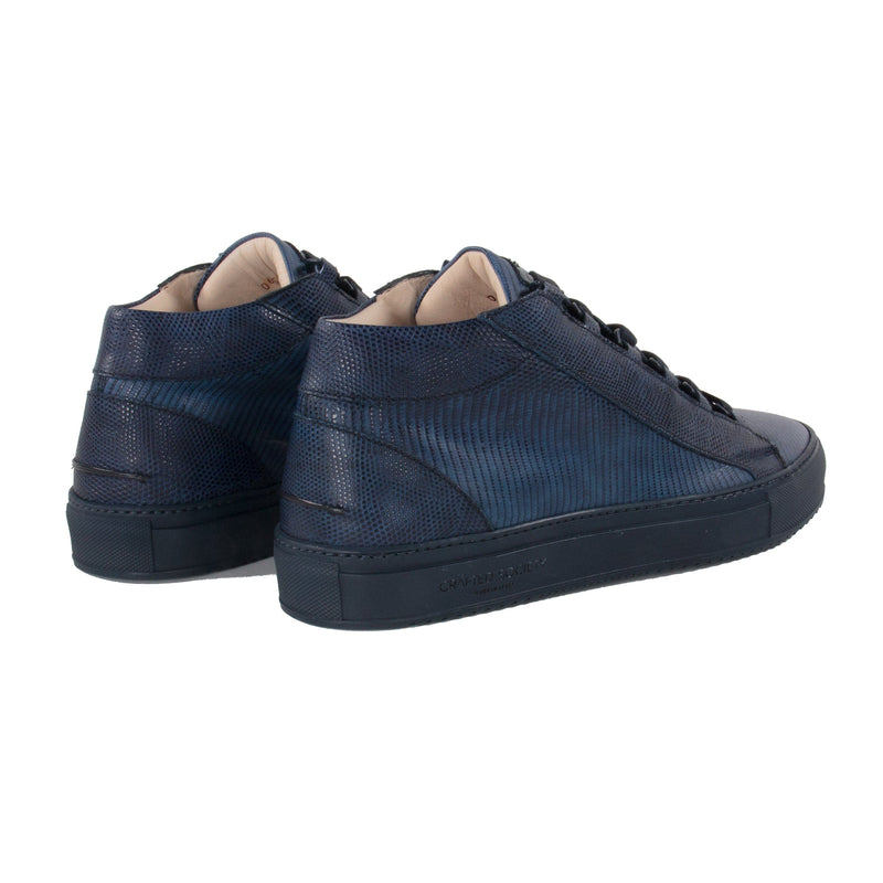 Rico Mid Sneaker Navy Stingray effect Navy Outsole Saffiano Leather - Sideview