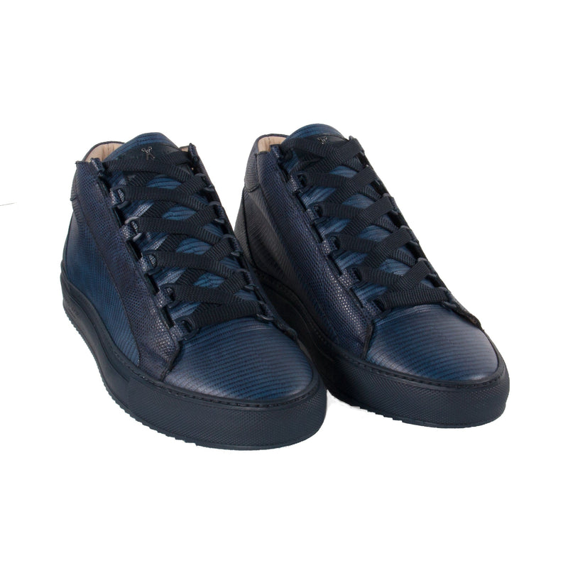 Rico Mid Sneaker Navy Stingray effect Navy Outsole Saffiano Leather - Frontview