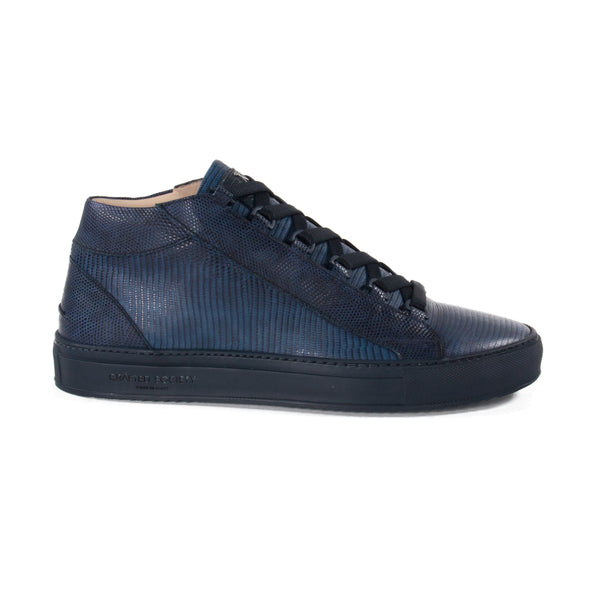 Rico Mid Sneaker Navy Stingray effect Navy Outsole Saffiano Leather Sideview