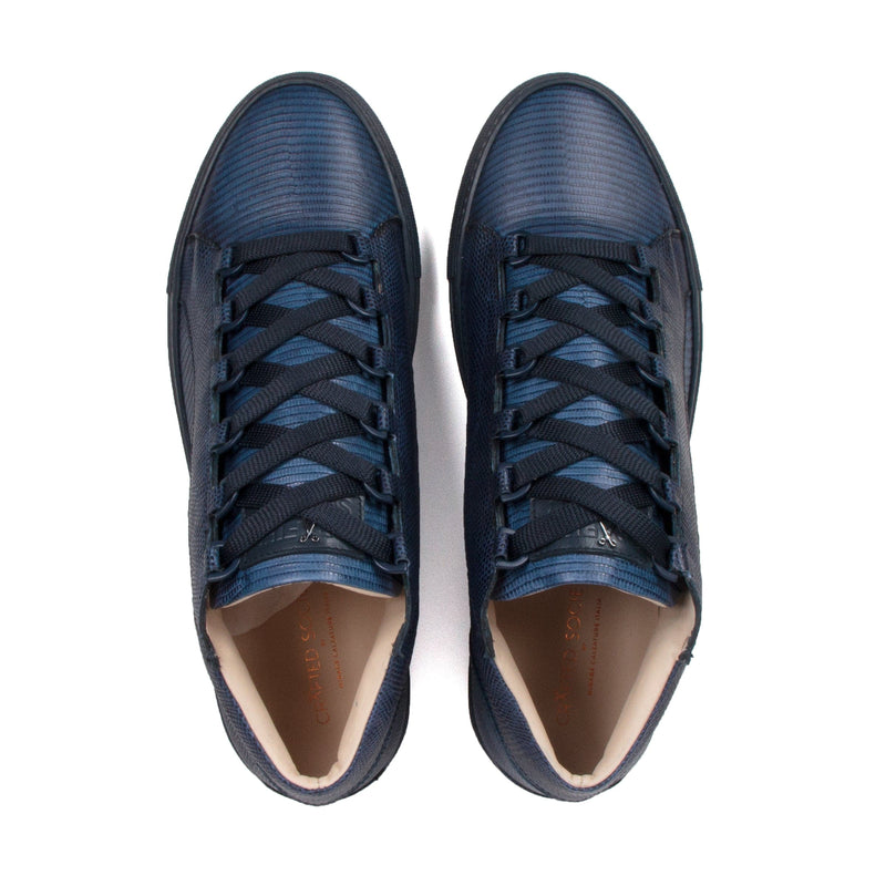 Rico Mid Sneaker Navy Stingray effect Navy Outsole Saffiano Leather - Aboveview